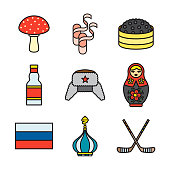 Russia Thin Line Icon Set