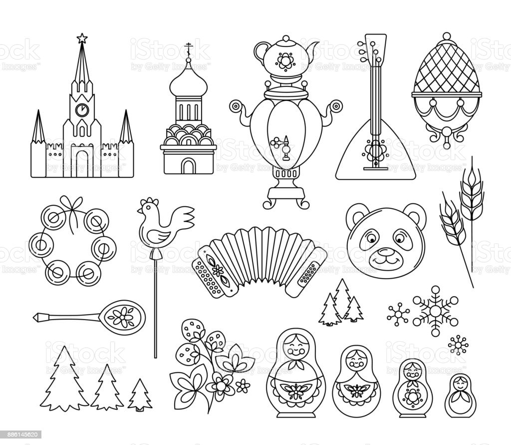 Russia thin line icons. Vector collection Russian culture signs, logo vector art illustration