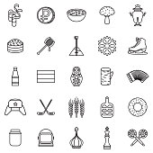Russia Thin Line Outline Icon Set