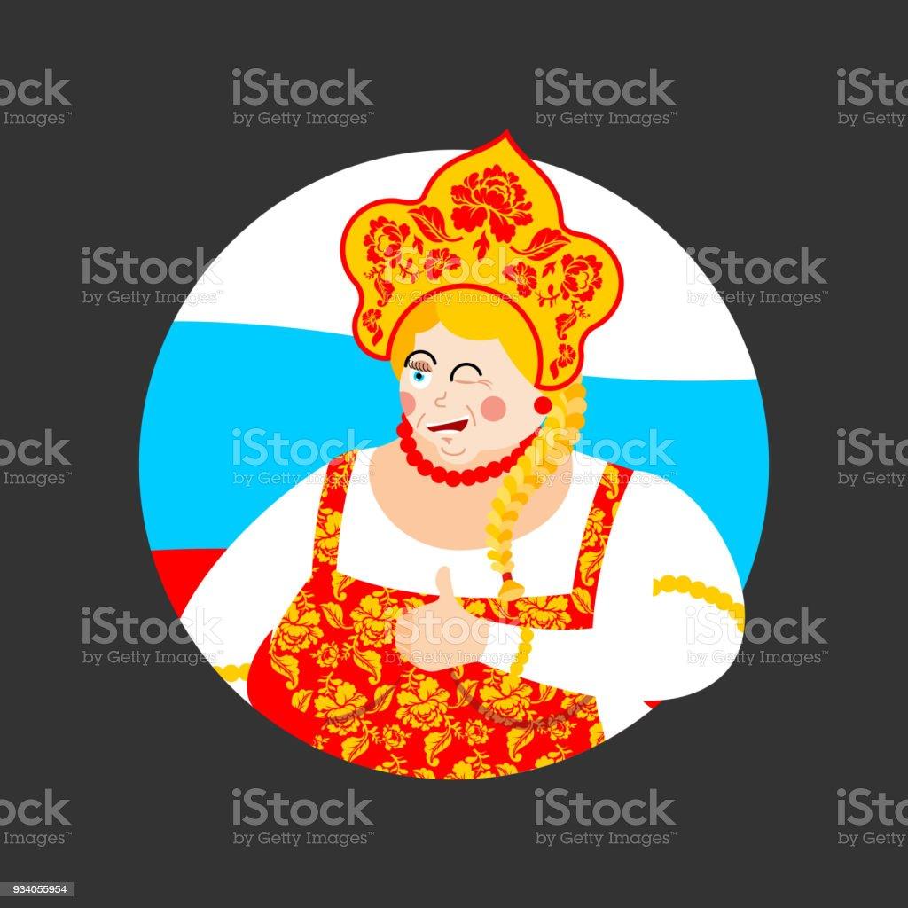 Russland Thumbs Up Und Zwinkert Madchen Russische Frau Glucklich