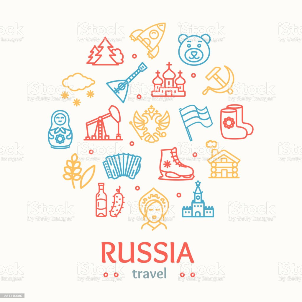 Russia Travel and Tourism Color Round Design Template Line Icon Concept. Vector vector art illustration
