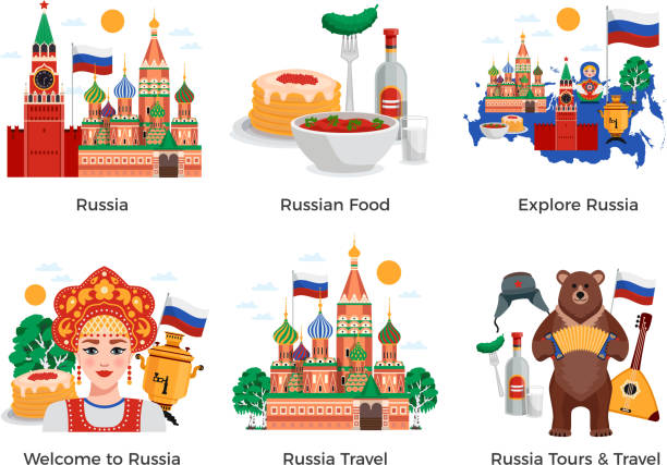 russia travel compositions Russia travel tours attractions culture landmarks 6 flat compositions set with traditional food symbols landmarks vector illustration kremlin stock illustrations