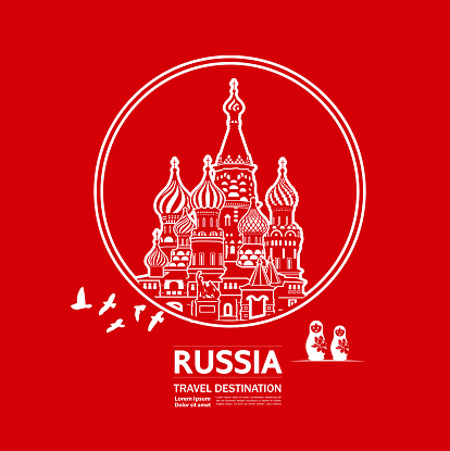 Russia travel destination grand vector illustration.