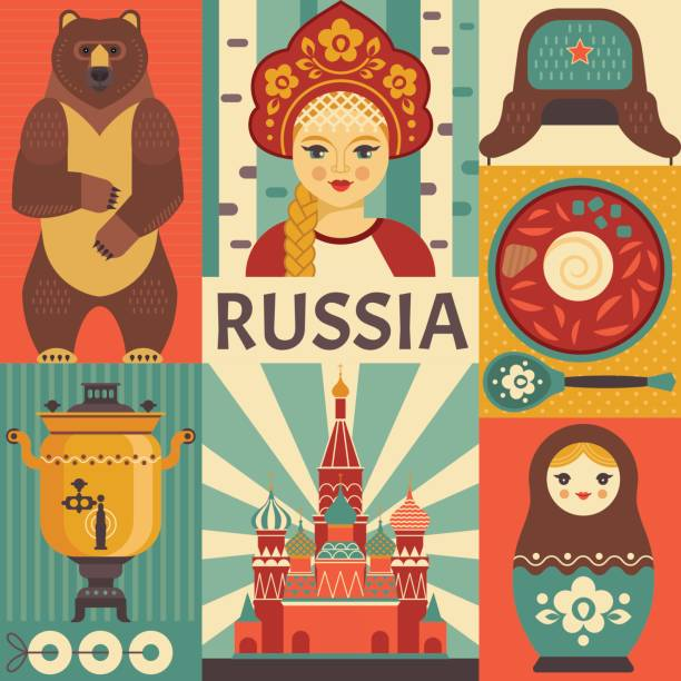 Russia travel poster concept. Vector illustration with Russian culture icons, including St. Basil's Cathedral, russian doll, borsch, portrait of Russian beauty in kokoshnik. Isolated background. animal costume stock illustrations