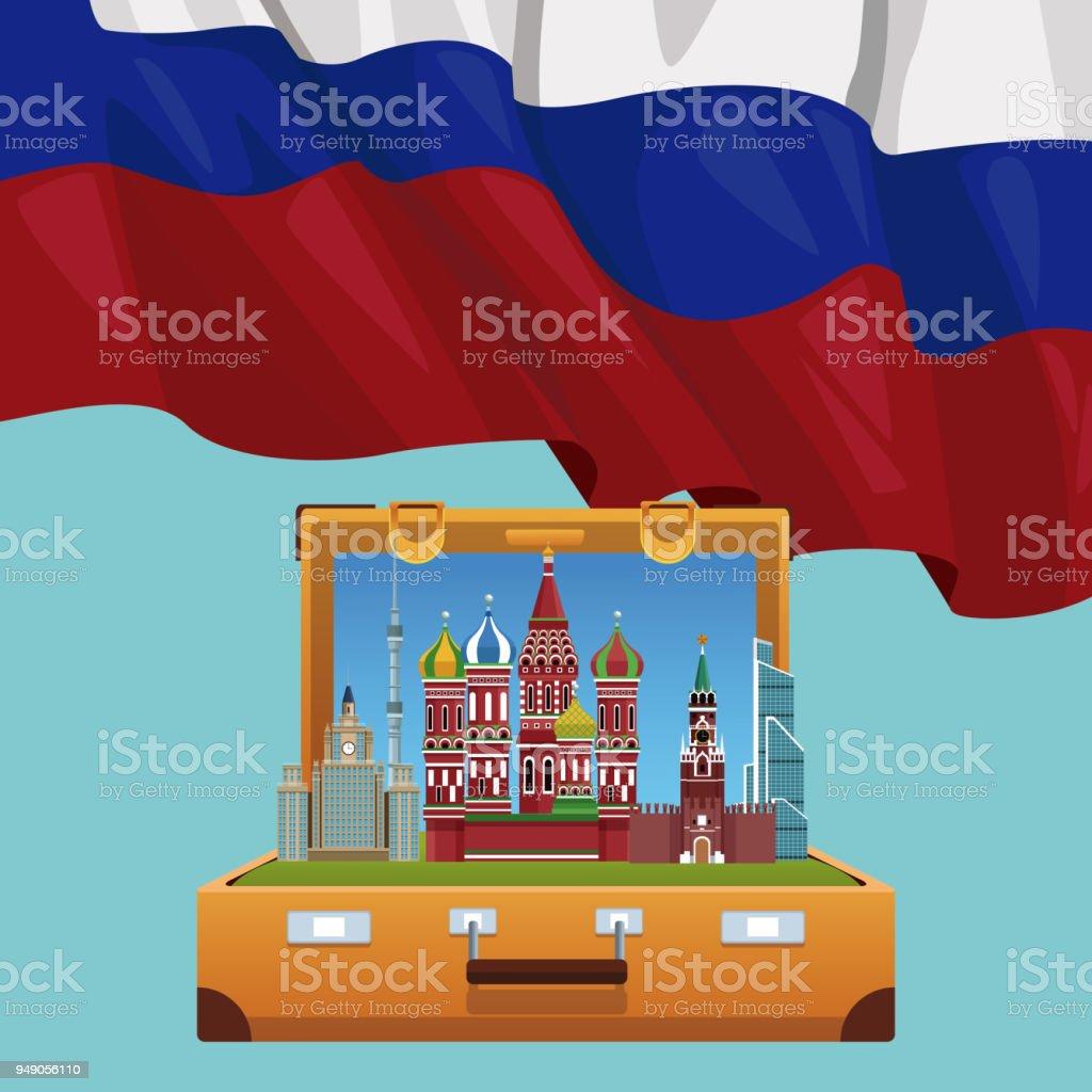 Russia travel poster vector art illustration