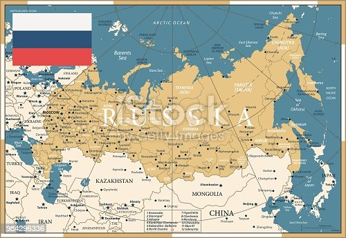 Map of Russia - Vintage Vector illustration