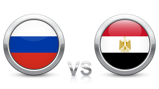 Russia vs. Egypt - Match 17 - Group A - 2018 tournament. Shiny metallic icons buttons with national flags isolated on white background.