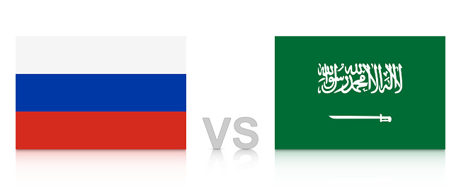Russia vs. Saudi Arabia. Russia 2018. National flags with reflection isolated on white background.