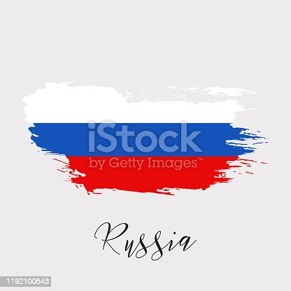 944453740 istock photo Russia watercolor vector national country flag icon 1192100543