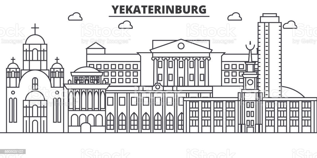 Russia, Yekaterinburg architecture line skyline illustration. Linear vector cityscape with famous landmarks, city sights, design icons. Landscape wtih editable strokes vector art illustration