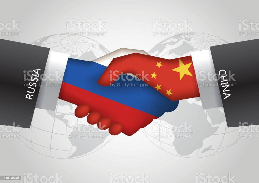 Russia-China handshake royalty-free stock vector art