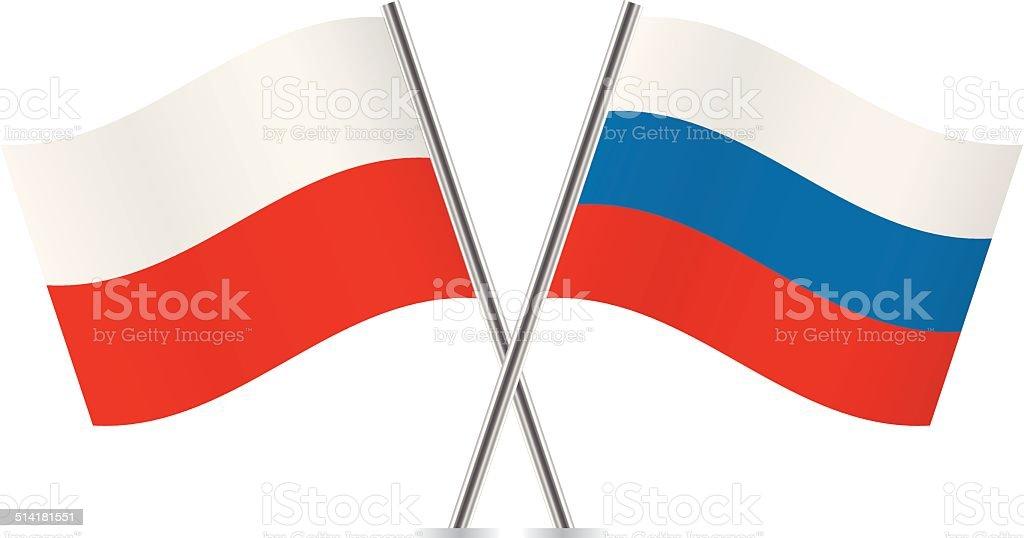 Russian and Polish flags. Vector. vector art illustration