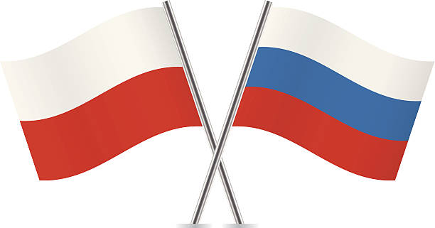 russian and polish flags. vector. - polish flag stock illustrations, clip art, cartoons, & icons