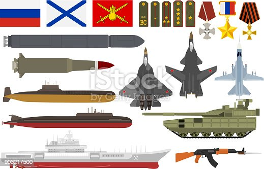 Russian army military vector armored aviation airplanes with weapon armed submarine ship and set of shoulder straps or decoration awards flags illustration isolated on white background.