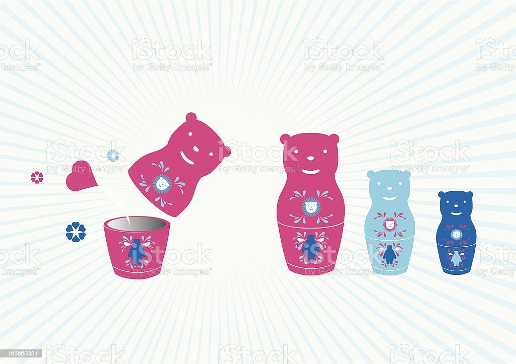 Russian Bear doll royalty-free stock vector art