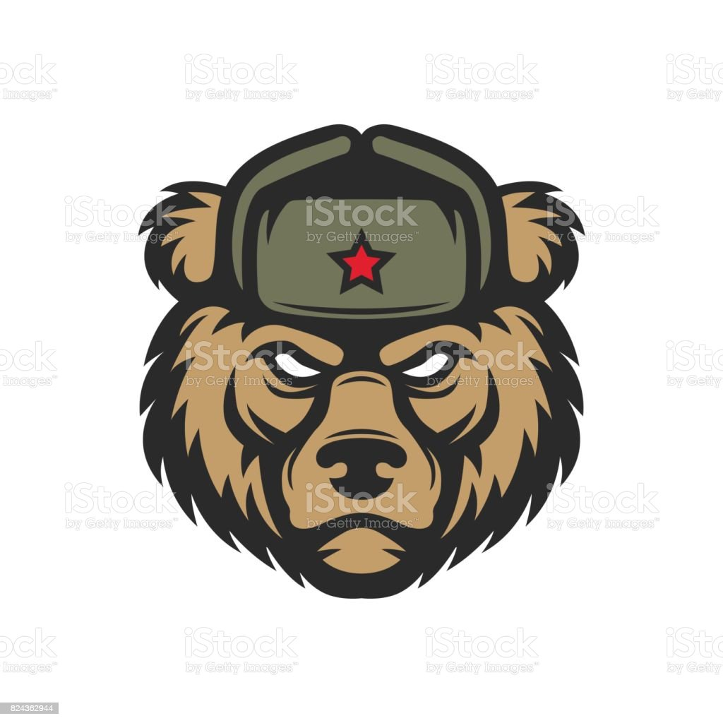 Russian bear in hat vector art illustration