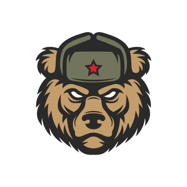 Russian bear in hat vector art illustration