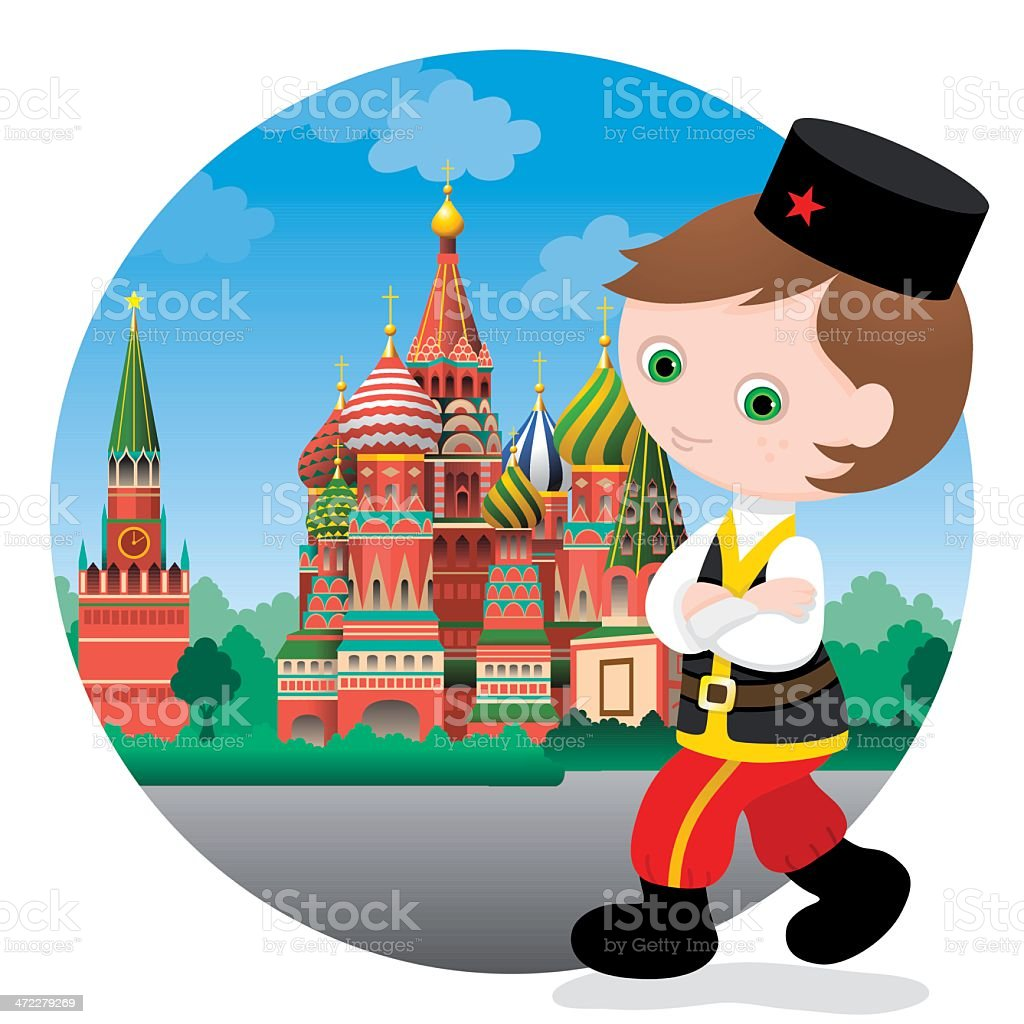 Russian boy at St. Basil's cathedral vector art illustration