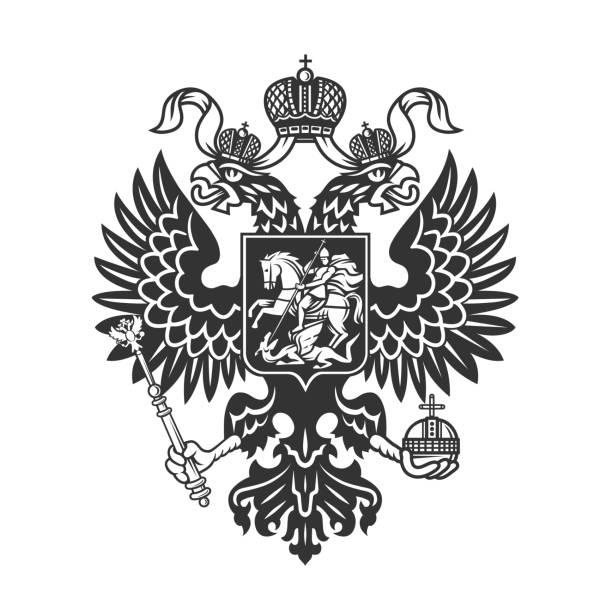 ilustraciones, imágenes clip art, dibujos animados e iconos de stock de escudo de armas ruso (águila de doble cabeza). - rusia