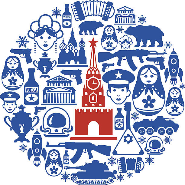 Russian Collage High Resolution JPG,CS6 AI and Illustrator EPS 10 included. Each element is named,grouped and layered separately. Very easy to edit.  kremlin stock illustrations