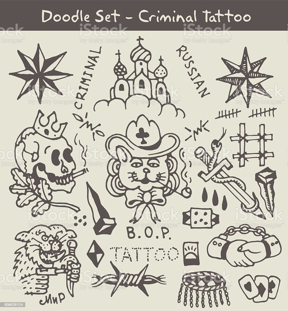 Russian Criminal Tattoo Stock Vector Art & More Images of Art ...