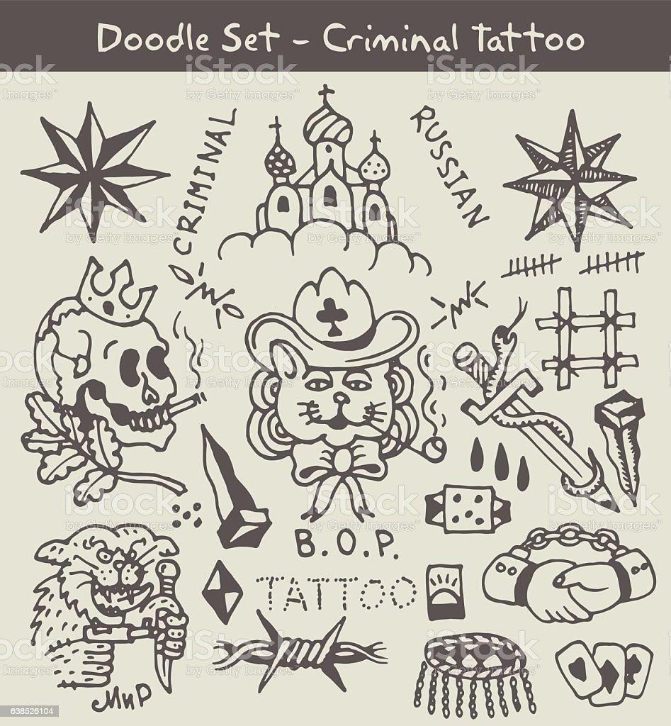 russian criminal tattoo - ilustração de arte em vetor