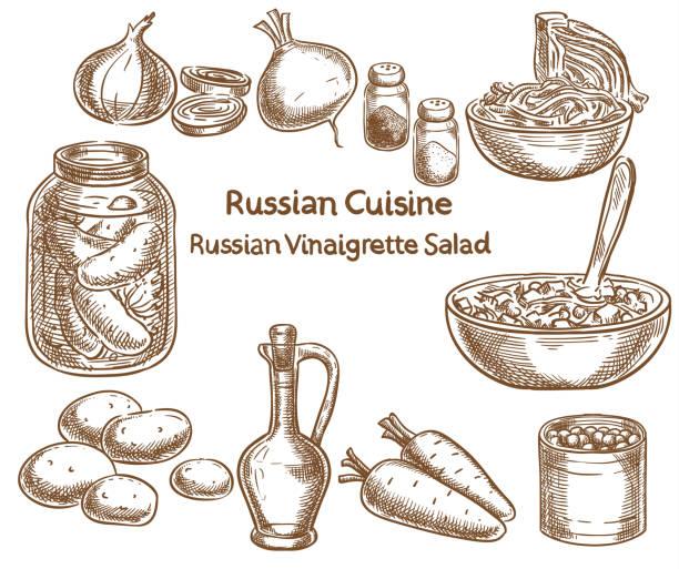 russische küche, russische vinaigrette salat, zutaten, vektor-skizze - dressing stock-grafiken, -clipart, -cartoons und -symbole