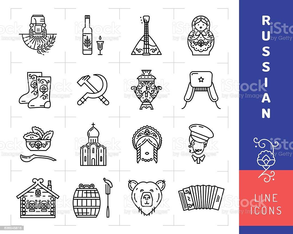 Russian culture black thin line icons. Russia traditional vector symbols vector art illustration