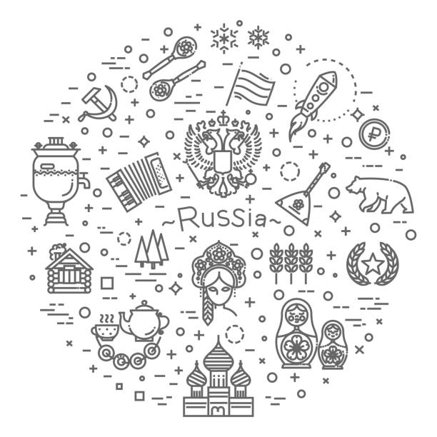 Russian Culture Icons, Culture Signs of Russia, Traditions of Russia, Russian Life, National Objects of Russia Russian culture Icons, Culture Signs of the USSR kremlin stock illustrations