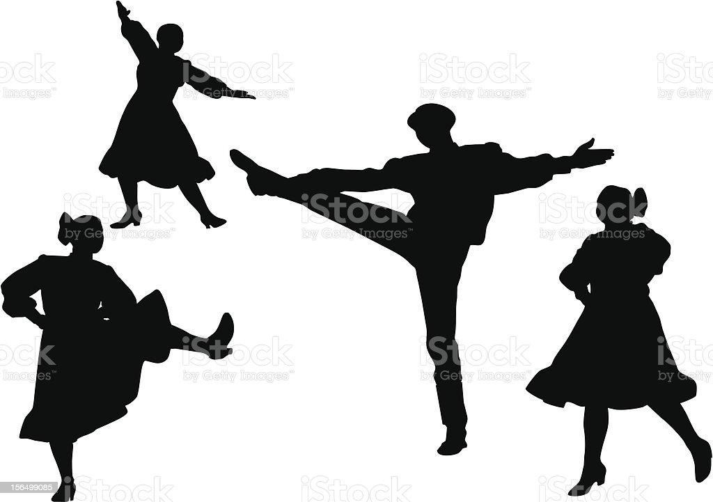 Russian dance vector art illustration