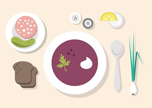 Russian dinner, still life Flat vector illustration scallion stock illustrations