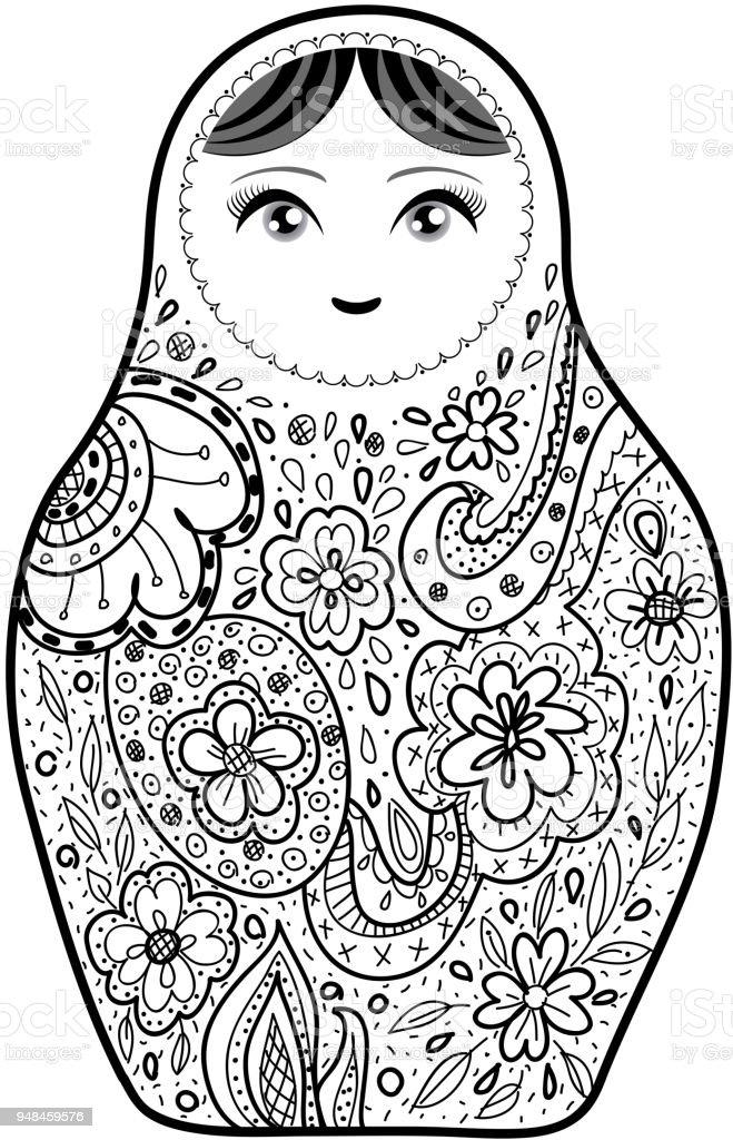 Poupee Russe Matriochka Babushka Croquis Souriant Contour Visage Noir Isole Sur Fond Blanc Pour Site Blog Livre De Coloriage Tissu Vector Vecteurs Libres De Droits Et Plus D Images Vectorielles De Adulte
