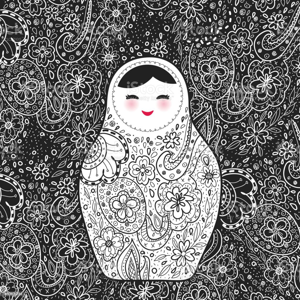 Russian doll matrioshka Babushka smiling face with pink cheeks, sketch flowers and leaves contours on black background. Vector vector art illustration