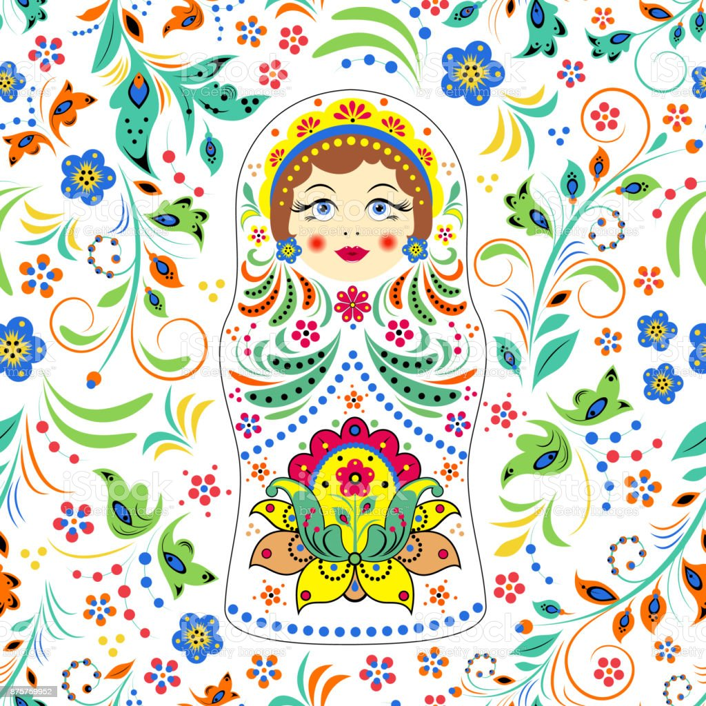 russian doll matryoshka and abstract flowers vector art illustration