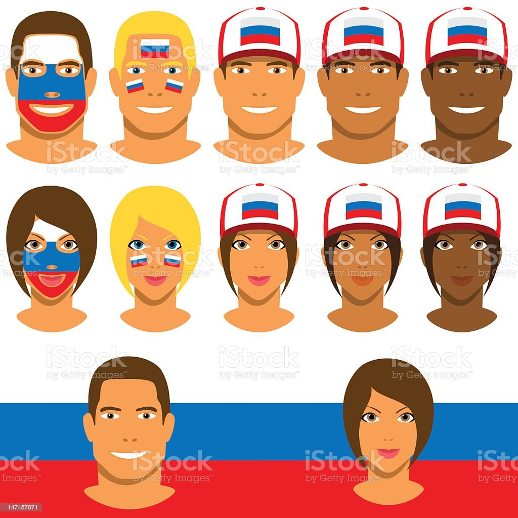 Russian fans, patriot with flag of Russia royalty-free stock vector art