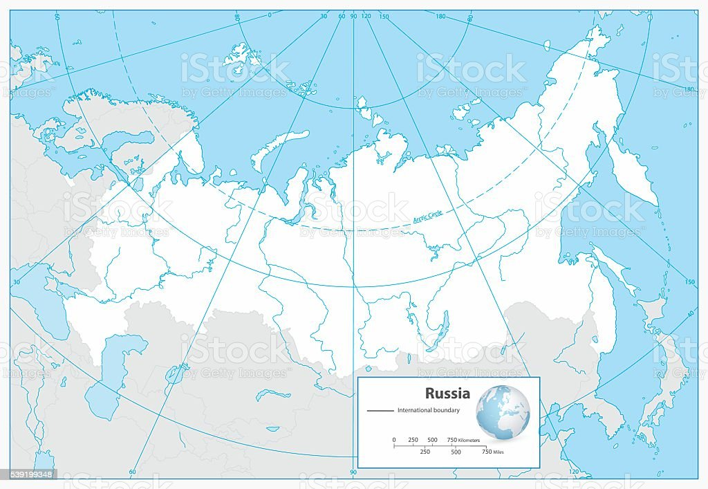Russian Federation Blank Outline Map Stock Vector Art - Blank map of russia
