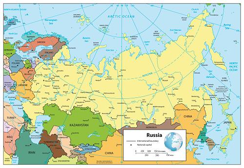 Cartina Russia Asiatica.Federazione Russa Dettagliata Mappa Politica Immagini Vettoriali Stock E Altre Immagini Di Asia Istock