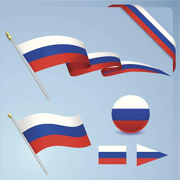ilustraciones, imágenes clip art, dibujos animados e iconos de stock de conjunto de bandera rusa - bandera rusa