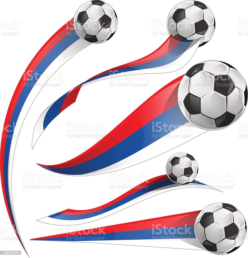 russian flag set with soccer ball vector art illustration