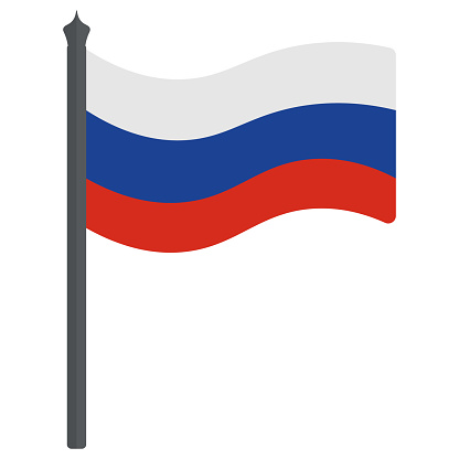 Russian flag. Tricolor fabric cloth. The national symbol of the state develops in the wind. Colored vector illustration. Isolated white background. The Russian Federation.