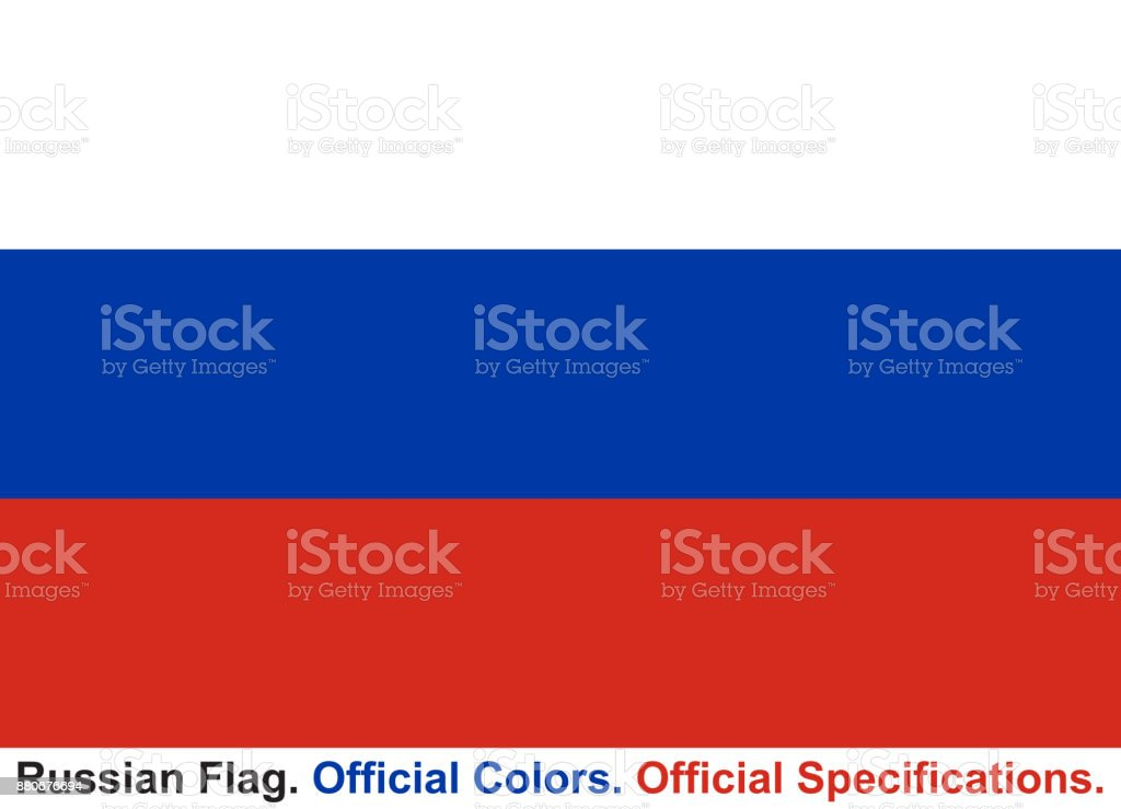 Russian Flag (Official Colors, Official Specifications) vector art illustration