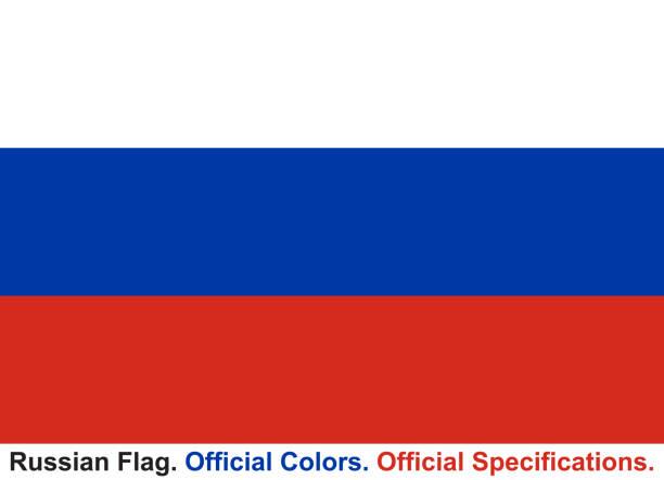 ilustraciones, imágenes clip art, dibujos animados e iconos de stock de bandera rusa (colores oficiales, especificaciones oficiales) - bandera rusa
