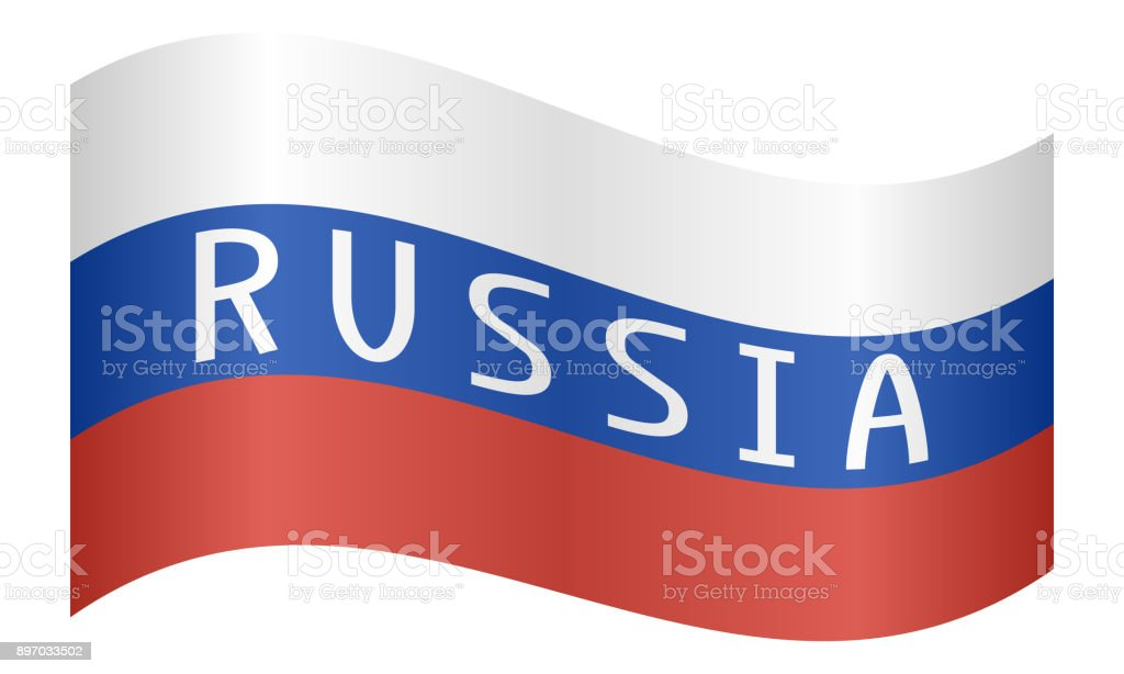 Russian flag with word Russia waving on white vector art illustration