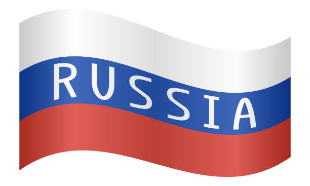 russian flag with word russia waving on white - russian flag stock illustrations, clip art, cartoons, & icons