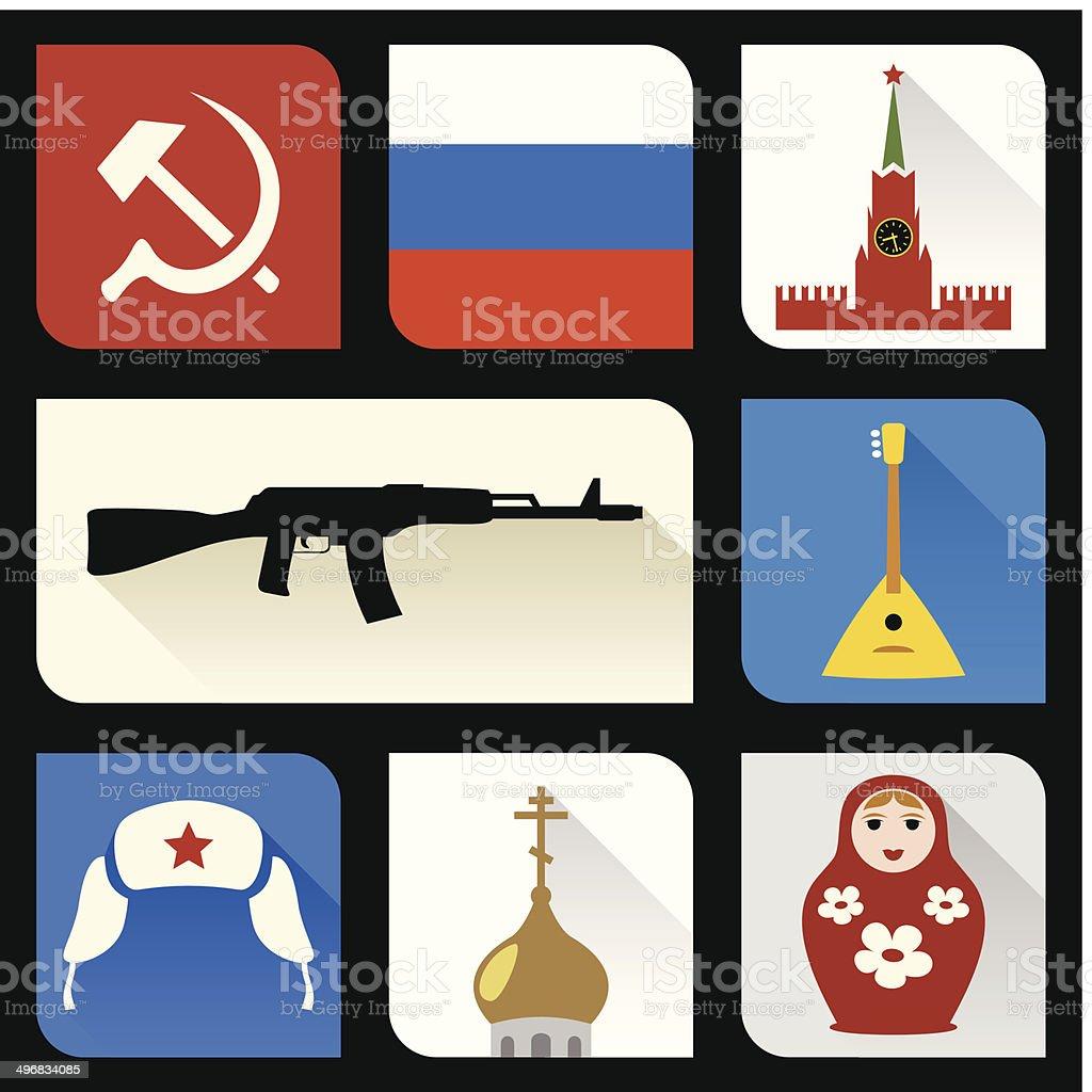 ロシアフラットアイコン ベクターアートイラスト