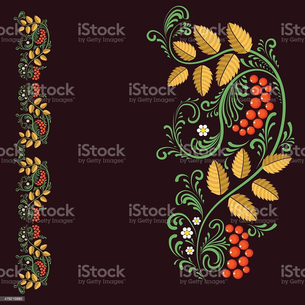Russian folk pattern. Vignette. Doodle. Natural ornament vector art illustration