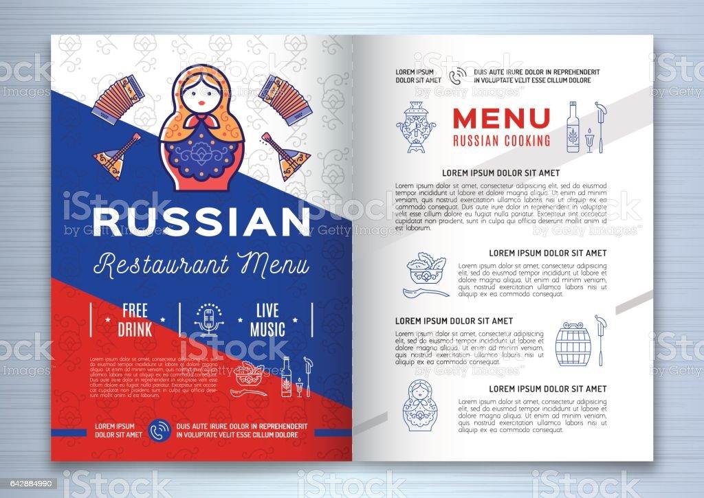 Russische Küchebroschürerestaurantmenü Traditionelle Russische ...