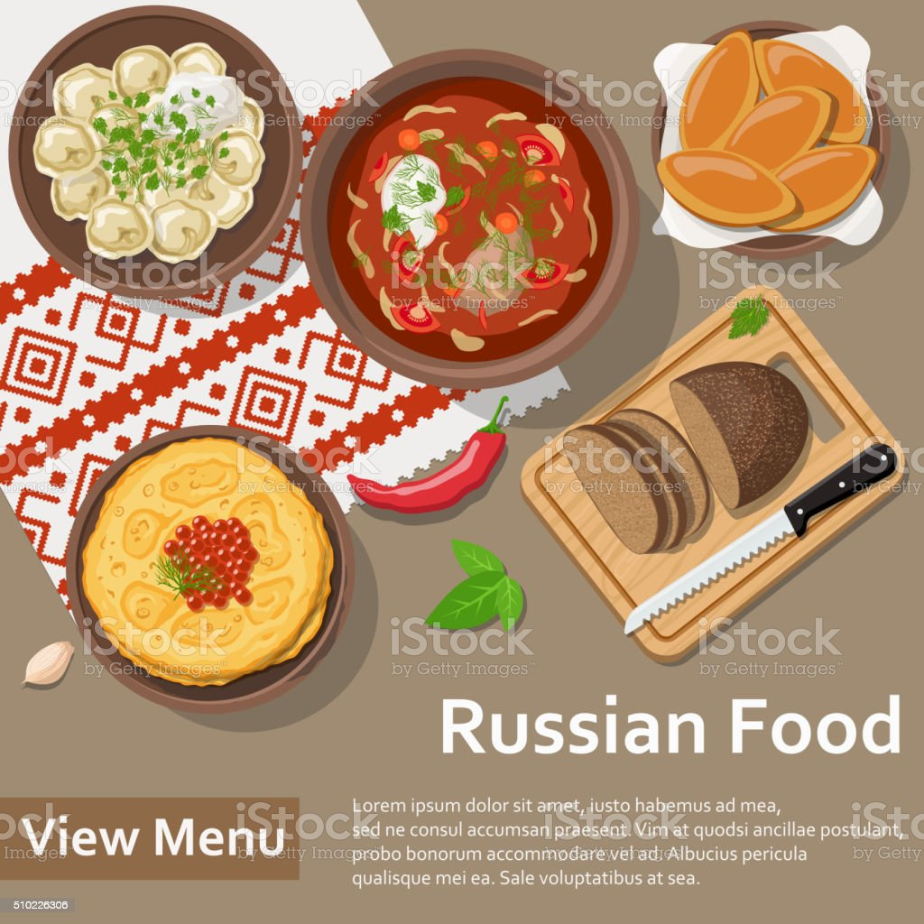 Russian food. Flat Lay Style Illustration - Royalty-free Appetizer stock vector