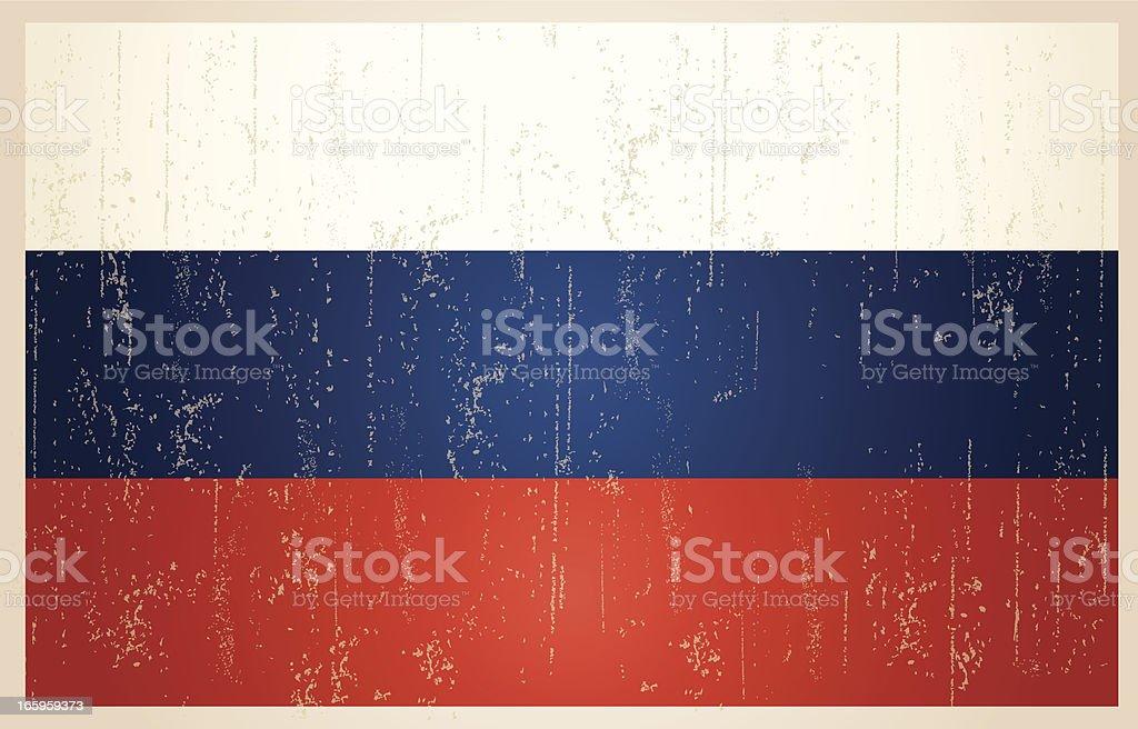 Russian grunge vintage flag vector art illustration
