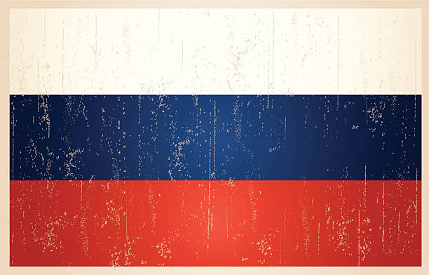 russian grunge vintage flag - russian flag stock illustrations, clip art, cartoons, & icons